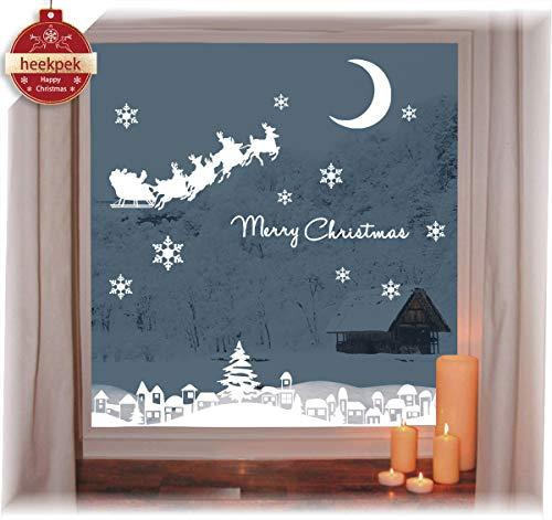 Wiederverwendbare winterliche Fensterbilder Weiße Weihnachten Fensteraufkleber Weihnachtsaufkleber Abnehmbare PVC Weihnachten Schneeflocken Aufkleber Vitrinen Selbstklebend Fensterfolie Weihnachtsdeko