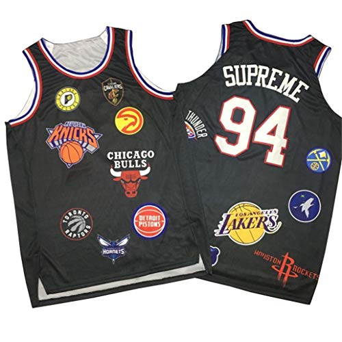 Basketball-Trikots #94 Supreme,Rundhalsausschnitt Heißpressweste mit Co-Branding Alle Basketball-Team-Logos Atmungsaktive Swingman Edition Ball Wear-Black-M