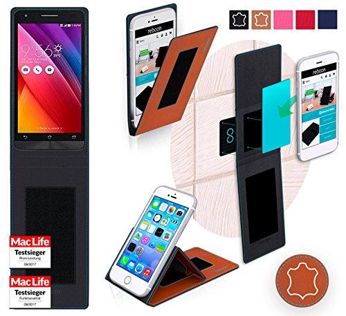 Hülle für Asus Zenfone Go 5.0 LTE Tasche Cover Case Bumper | Braun Leder | Testsieger