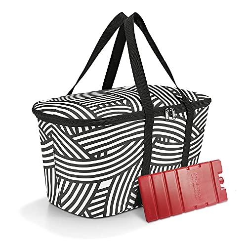 Set bestehend aus reisenthel coolerbag und Connabride Kühlakku - isolierte Kühltasche, faltbar, robust, mit Reißverschluss - 44,5 x 24,5 x 25 cm, Zebra