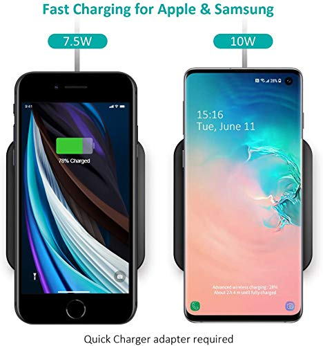 Amazon Com Choetech Wireless Charger 10w Max Qi Certified Fast Wireless Charging Pad Compatible With Iphone 11 11 Pro 11 Pro Max Xs Max X Samsung Galaxy Note 10 Note 10 S10 S9 Airpods Pro Black T511 000