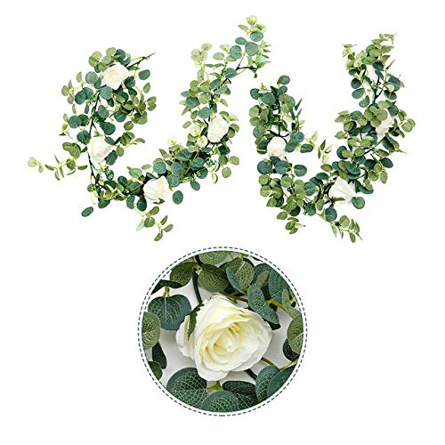Jing Ger 1.8M Artificial Eucalyptus with Rose Garland Hanging Rattan Vertical Garden Home Table Party Wedding Backdrop Wall Decor Vine (Color : Milky White)