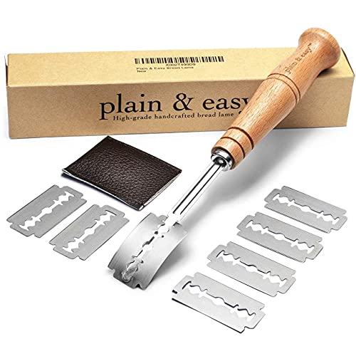 PLAIN & EASY Bread Lame - Scoring Knife with 7 Stainless Steel Razor Sharp Blades Set & Protector...