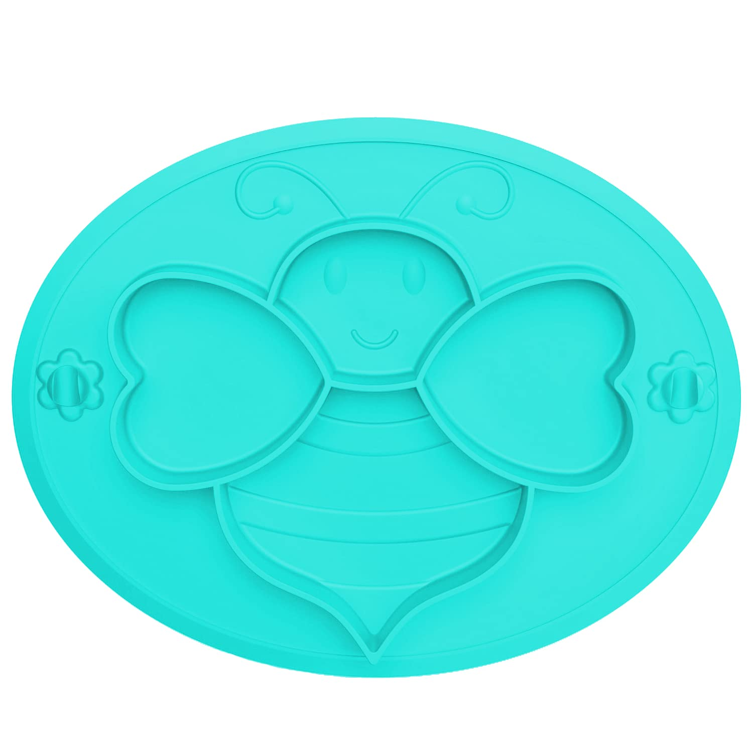 Silicone Suction Plates, Baby Plates, Divided Bee Design Plate for Baby Kids Toddler Food, BPA-Free, Non-Slip, Unbreakable Portable Dinner Toddler Plates (Light Green)
