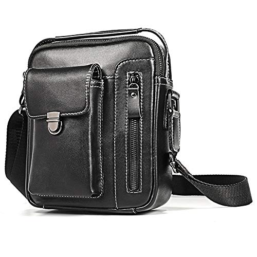 SHENAISHIREN Sling Bags for Men - Crossbody Bag,Leather Sling Bag Waterproof Shoulder Bag for Travelling, Cycling, Walking (Color : Black)