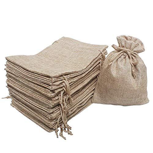 25 Pcs Burlap Bag with Drawstring Linen Burlap Pouches Gift Bags for Wedding Favors, DIY Craft, Present, Snacks 7' x 5'