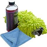 Super Pros Car Wash Kit (3 Items) Includes 16 Oz Foaming Carwash Soap, Swirl-Free Chenille Wash Pad & Ultra Soft Micro Fiber Drying Towel