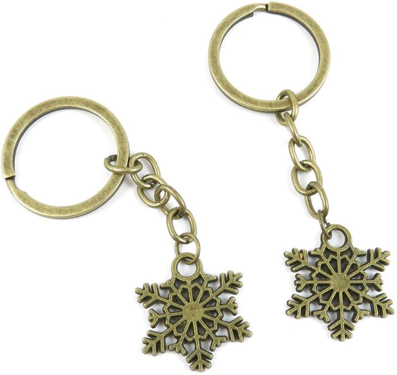 180 Pieces Fashion Jewelry Keyring Keychain Door Car Key Tag Ring Chain Supplier Supply Wholesale Bulk Lots U1US9 Snowflake Snow Flake