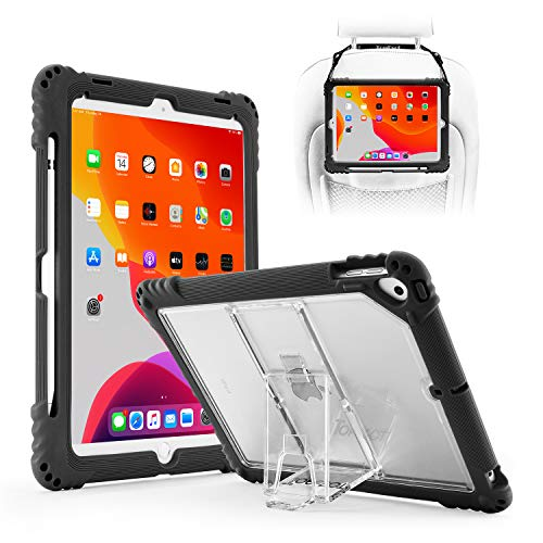 TopEsct iPad 10.2' 2019 iPad 7th Generation Case,Heavy Duty Built in Pencil Holder and Kickstand Shockproof Protective Case, Compatible with New iPad 10.2', iPad Air 3 and iPad Pro 10.5' (Black-1)