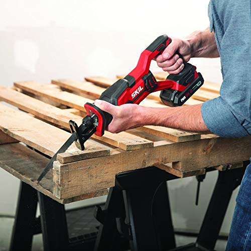 Skil 4-Tool Combo Kit: 20V Cordless Drill Driver, Impact Driver, Reciprocating Saw and LED Spotlight, Includes Two 2.0Ah Lithium Batteries and One Charger - CB739601