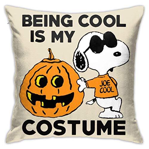 N\A Snoopy Cool Pumpkin Disfraz de Halloween Fundas de Almohada Funda de cojn Decorativa de Forma Cuadrada para sof Juego de Almohada