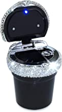 eing Car Ashtray Portable Bling Cigarette Smokeless Cylinder Cup Holder with Blue LED Light Indicator,Car Accessories for Women,Ideal for Car,Home and Office,Black