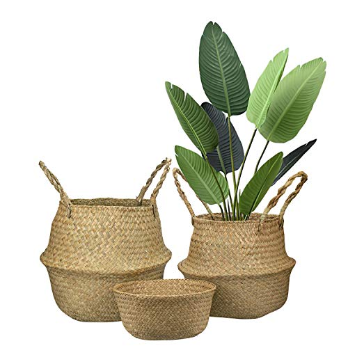 Lawei 3 Stück Bauchkorb aus Seegras Naturkorb Handgewebt Wäschekorb Faltbar Blumenkorb mit Griff für Spielzeug Wäsche Picknick Pflanztöpfe Strand Tasche