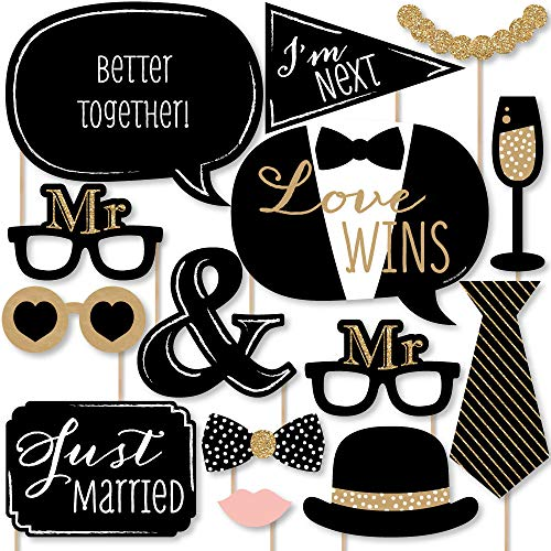 Big Dot of Happiness Mr. and Mr. - Gold - Gay Wedding LGBTQ Photo Booth Props Kit - 20 Count