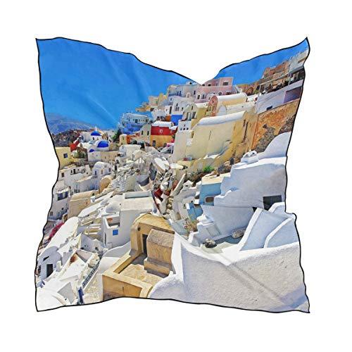 LUPINZ Bufanda de seda para mujer, diseño de Santorini Caldera cuadrada, 60 x 60 cm