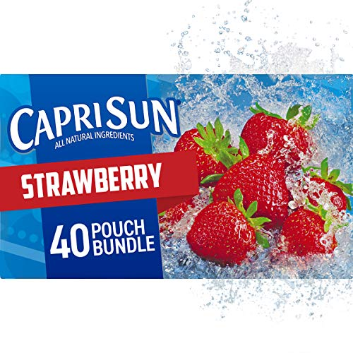 Capri Sun Strawberry Juice Drink Pouches, 6 Fl Oz (Pack of 40)