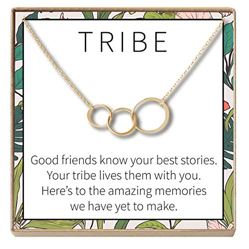 Dear Ava Tribe Gift Necklace: Best Friends, BFF, Long Distance, Friends Forever, 3 Asymmetrical Circles (Gold-Plated-Brass, NA)