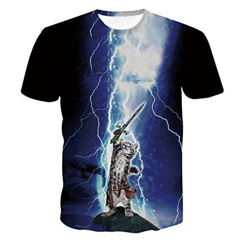 Clearance Deals T-Shirt, 2018 Funny Boys Men 3D Graphic Lightning Cat Printed Short Tee Tops (Blue,...