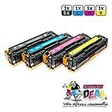 Lot 4tóners láser genérico HP 125A Compatible para impresora HP Laserjet CM1312, CP1215, CP1515CP1515N CP1518CP1518N–CB540A CB541A CB542A CB543A–Cartucho Deal®