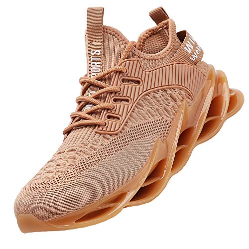 TSIODFO Men Sport Running Sneakers Tennis Athletic Walking Shoes Mesh Breathable Comfort Fashion Casual Gym Runner Jogging Shoes Brown Size 9.5