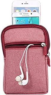 DFV mobile - Universal Multi-functional Vertical Stripes Pouch Bag Case Zipper Closing Carabiner for => SAMSUNG GALAXY A9S (2018) > Red (17 x 10.5 cm)