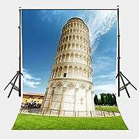 HD 5X7ft建築風景の背景ピサの斜塔のスタジオ写真撮影の背景ネイビーブルースカイ写真スタジオ背景LYLX103