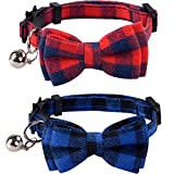 2 Pack/Set Cat Collar Breakaway with Cute Bow Tie and Bell for Kitty Adjustable Safety Plaid, Red&Blue