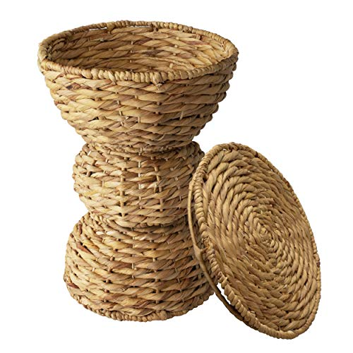 Side Table Storage Multipurpose Hand Woven Water Hyacinth Wicker Basket Hamper Seat for Laundry, Storage Bins with Lid (3-Tier Small)