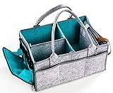 Organizador de pañales para bebé con bolsillo con cremallera de fieltro, portátil para guardería y juguetes de almacenamiento/cesta de coche
