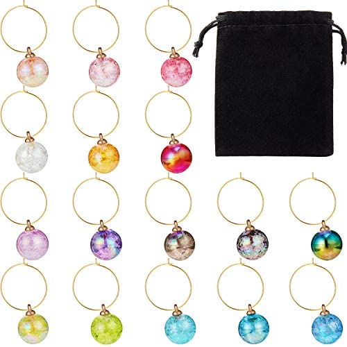 Wine Beaded Charms Set Swirl Glass Markers Tags Includes 16 Pieces Beads 32 Pieces Rings and product image