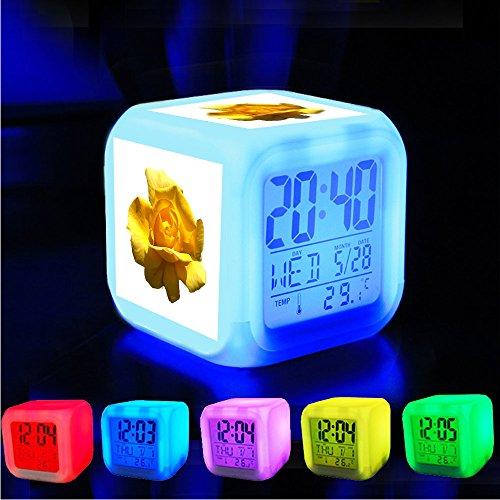 Alarm klok 7 LED kleur veranderen wakker slaapkamer met data en temperatuur display (veranderbare kleur) Pas het patroon?672.Yellow Rose - Png bestand - Let alleen op de maximale origineel