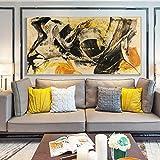 YuanMinglu Cartel de Arte de Pared Amarillo y Negro Abstracto clásico y Pared de Lienzo de Grabado sin Marco 50x100cm