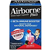 Airborne Plus Beta-Immune Booster Very Berry Powder Packets, 7 count - Vitamin C Immune Support Supplement