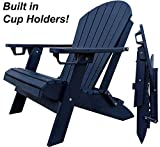 DuraWeather Poly King Size Folding Adirondack - Unwind Edition Featuring Built-in Cup Holders (Nautical Navy)