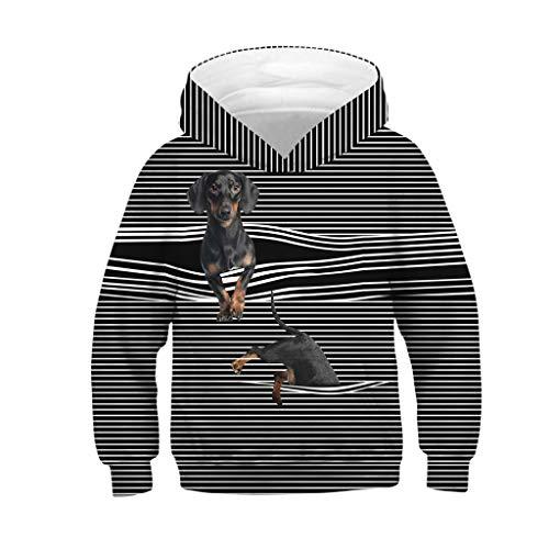 Mitlfuny Primavera Otoño Bebé Camisetas de Manga Larga Sudaderas con Capucha Perro Estampado Dibujos Animados Rayas Camisas de Algodón Niñas Niños Blusas Tops Ropa de Niño 7-13 Años