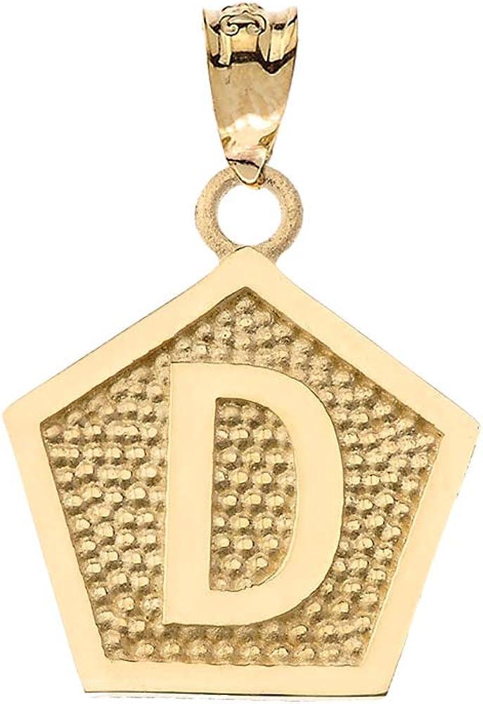 LA BLINGZ 10K Yellow Gold Letter D Initial Pentagon Charm Pendant