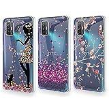 QFSM 3 Pack Funda para HTC Desire 21 Pro 5G Transparente Carcasa Moda Cristal TPU Gel Cubierta De Silicona Suave Tapa Cover Case Caso - Chica Bonita + Flor de Ciruelo + Amor