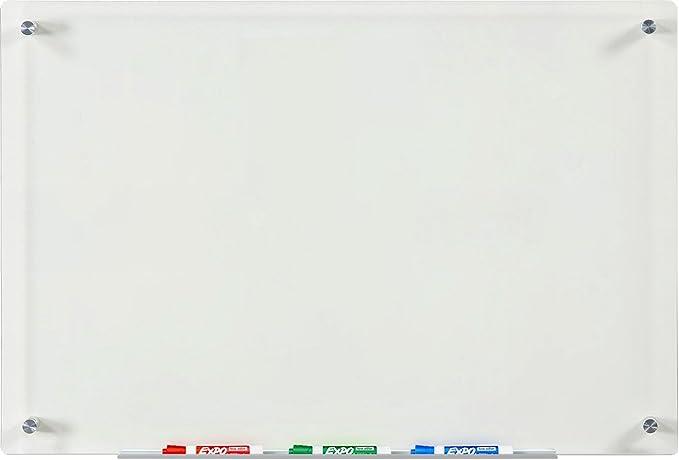 863 opinioni per Lavagna a Secco in Vetro Trasparente- 60 cm x 90 cm- Include Vassoio Marcatore