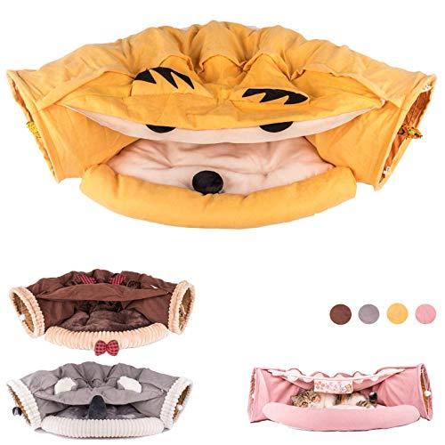 MelPet Letto a tunnel per gatti con tappetino, tubo pieghevole a 2 vie con palla da graffio, giocattolo interattivo, capanna per gatti e cuccioli (budino)