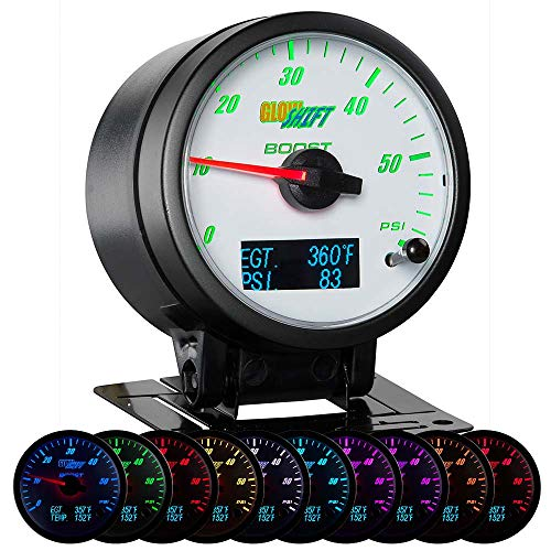 GlowShift 3in1 Analog 60 PSI Boost Gauge Kit with Digital 2200 F Pyrometer Exhaust Gas Temp EGT & 150 PSI Pressure Readings - 10 Selectable LED Colors - White Dial - Clear Lens - 2-3/8' 60mm