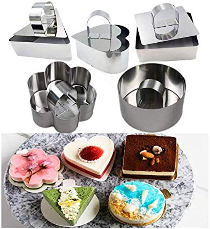 Astra Gourmet Stainless Steel Cake Ring Dessert Mousse Mold With Pusher Lifter Cooking Rings For Mousse Japanese Fluffy Pancakes Rice Salads Fancy Dessert Set Of 5