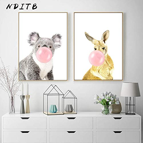 Canvas Wall Art Print Bubble animal wall decor for living room wall art picture home posters artwork60x80cmx2Frameless painting