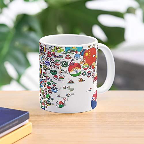 5TheWay Map Polandball Countryball World Mug Best 11 oz Kaffeebecher - Nespresso Tassen Kaffee Motive