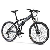 DJYD Mountain Bikes, 26-Zoll-27-Speed Hardtail Mountainbike, Folding Aluminiumrahmen Anti-Rutsch-Fahrrad, Kinder Erwachsene All Terrain Mountain Bike, Blau FDWFN (Color : Black)
