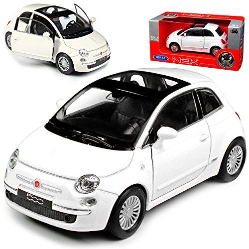 Welly FIAT 500 Nuova Weiss Coupe Ab 2007 ca 1/43 1/36-1/46 Modell Auto mit individiuellem Wunschkennzeichen