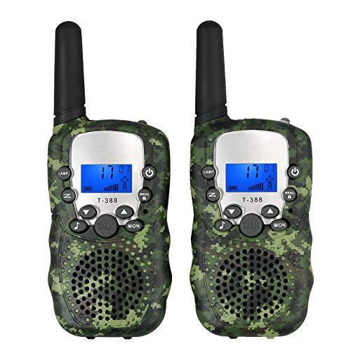 eSynic Paar T-388 Walkie Talkie für Kinder 3KM 2pcs Woki Toki 8 Kanäle VOX für Kinder Geschenk Radio Transceiver mit LED Taschenlampe - Grüne Tarnung