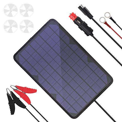 BigBlue 10W/18V Cargador Panel Solar Portátil con Enchufe para Encendedor de Cigarrillos y Clip de Cocodrilo y Cable de Eerminal de Junta Tórica para Auto, Moto, Barco, Caravana, etc.