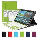 Besmall kompatibel mit 10 Zoll Tablet Bluetooth Tastatur und PU Leder Schutz Hülle mit Standfunktion mit Tablet Samsung Galaxy Tabs (9,6/ 9,7/ 10,1 Bildschirm, Grün)