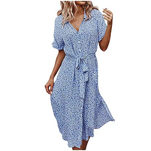 FQZWONG Dress for Women Casual Solid V Neck Short Sleeve Chiffon Print Ruffle Frenulum Dress for Holiday Dating Beach(Blue,X-Large)
