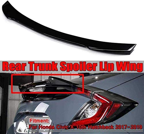pianaiBB Schwarz Kohlefaser Auto Heckspoiler Kofferraumspoiler, Für Honda Civic X 10Th Hatchback 2017-2019 Rear Heckkofferraum Spoilerflügel, Lippendeck Modifiziertes Winddruck Boo